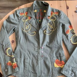 Johnny Was JW green military jacket embroidered